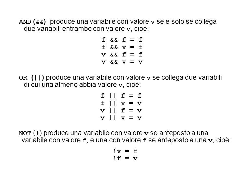 AND ( && ) produce una variabile con valore v se e solo se collega due variabili entrambe con valore v, cioè: f && f = f f && v = f v && f = f v && v