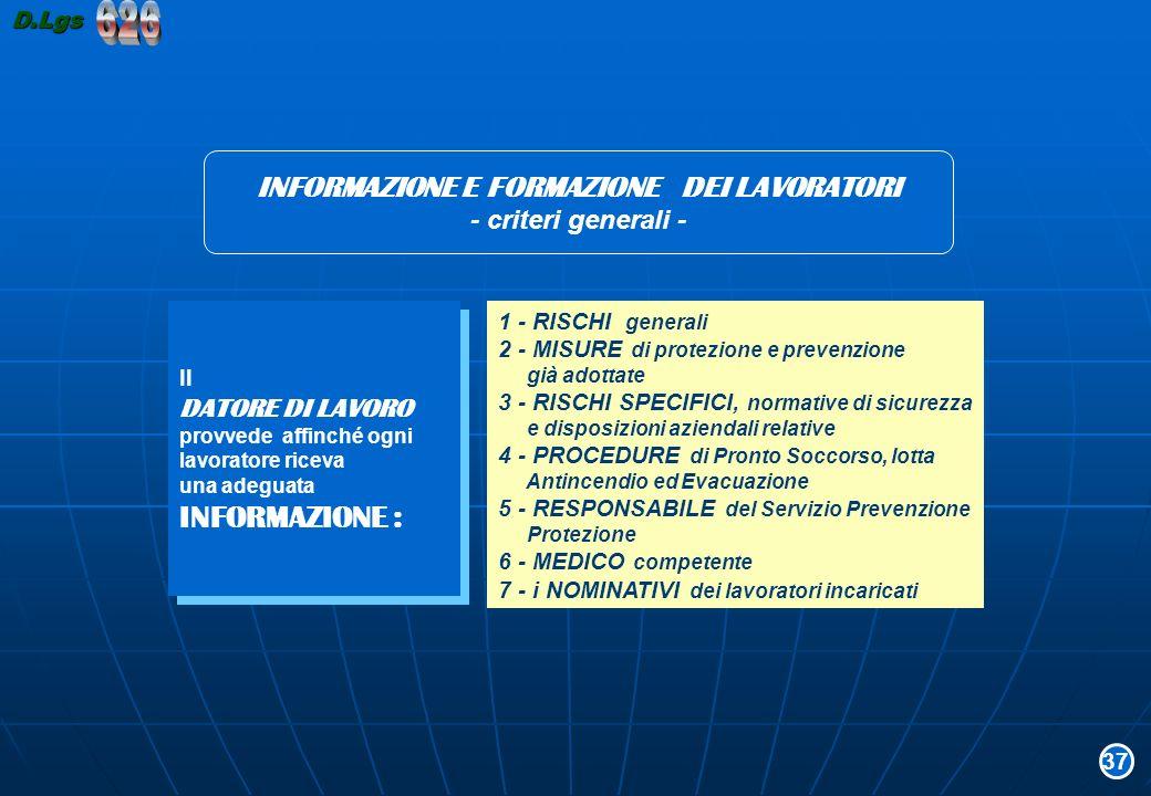 INFORMAZIONE E FORMAZIONE DEI LAVORATORI - criteri generali - 1 - RISCHI generali 2 - MISURE di protezione e prevenzione già adottate 3 - RISCHI SPECI