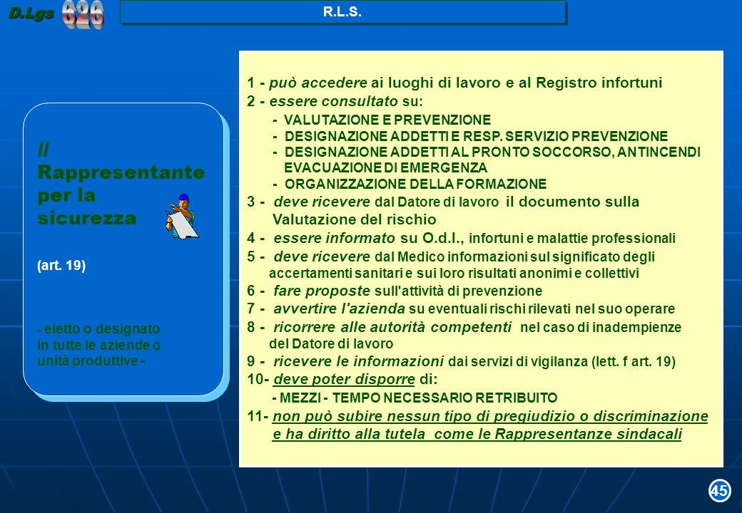 1 - può accedere ai luoghi di lavoro e al Registro infortuni 2 - essere consultato su: - VALUTAZIONE E PREVENZIONE - DESIGNAZIONE ADDETTI E RESP. SERV