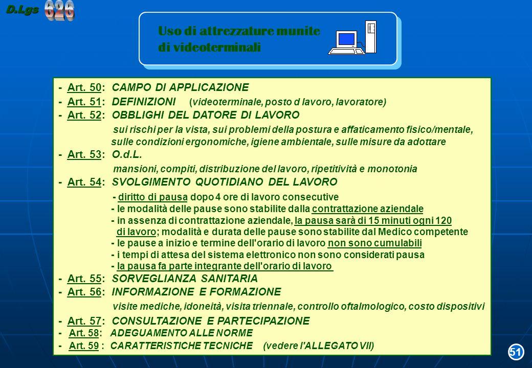 Uso di attrezzature munite di videoterminali Uso di attrezzature munite di videoterminali - Art. 50: CAMPO DI APPLICAZIONE - Art. 51: DEFINIZIONI (vid