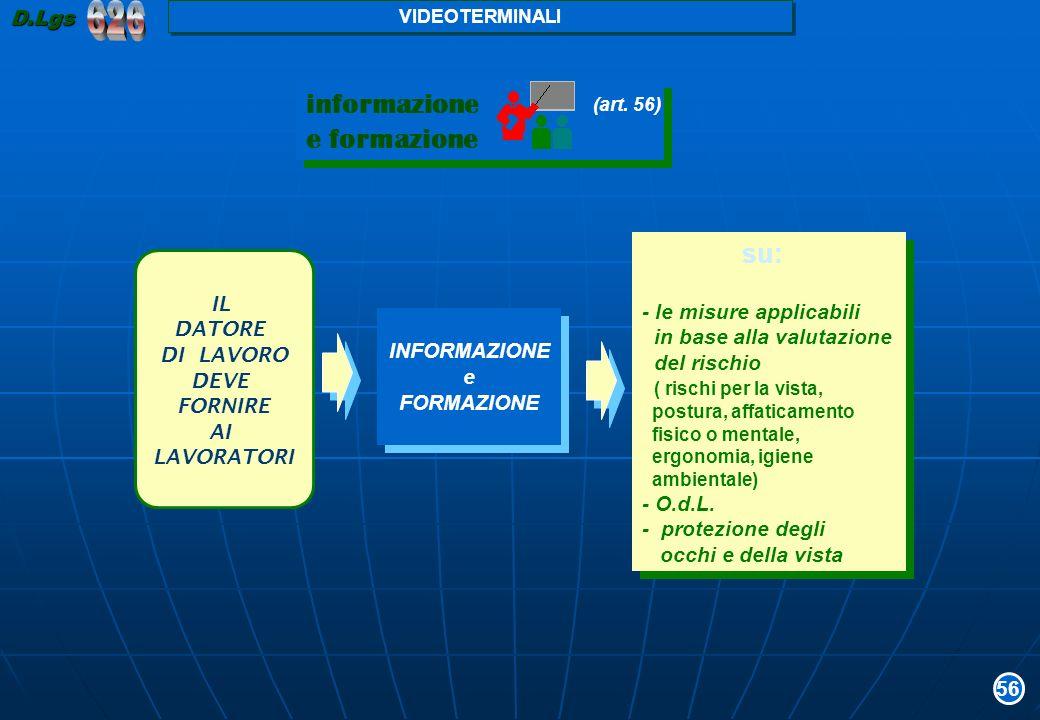 informazione e formazione informazione e formazione (art. 56) IL DATORE DI LAVORO DEVE FORNIRE AI LAVORATORI INFORMAZIONE e FORMAZIONE INFORMAZIONE e