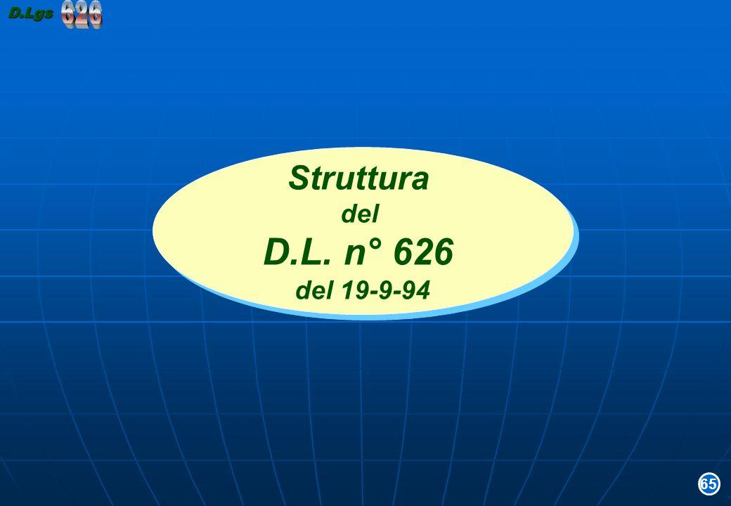 Struttura del D.L. n° 626 del 19-9-94 Struttura del D.L. n° 626 del 19-9-94 65D.Lgs