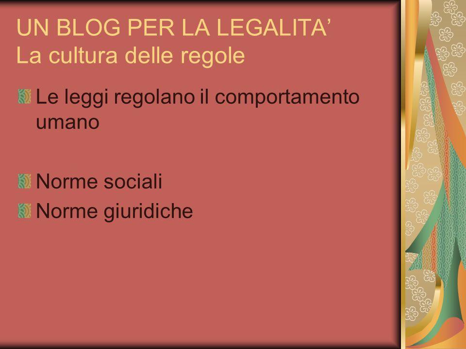 UN BLOG PER LA LEGALITA La cultura delle regole Le leggi regolano il comportamento umano Norme sociali Norme giuridiche
