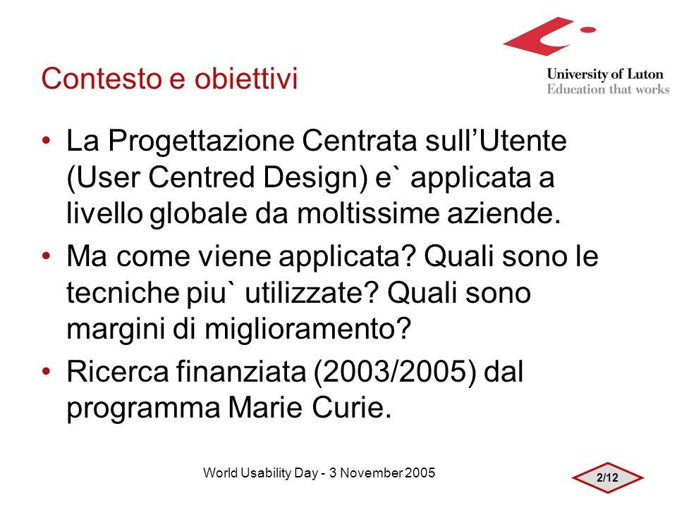 2/12 World Usability Day - 3 November 2005 Contesto e obiettivi La Progettazione Centrata sullUtente (User Centred Design) e` applicata a livello globale da moltissime aziende.
