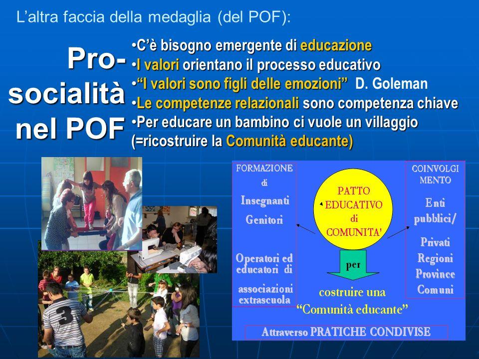 Laltra faccia della medaglia (del POF): Pro- socialità nel POF nel POF Cè bisogno emergente di educazione Cè bisogno emergente di educazione I valori