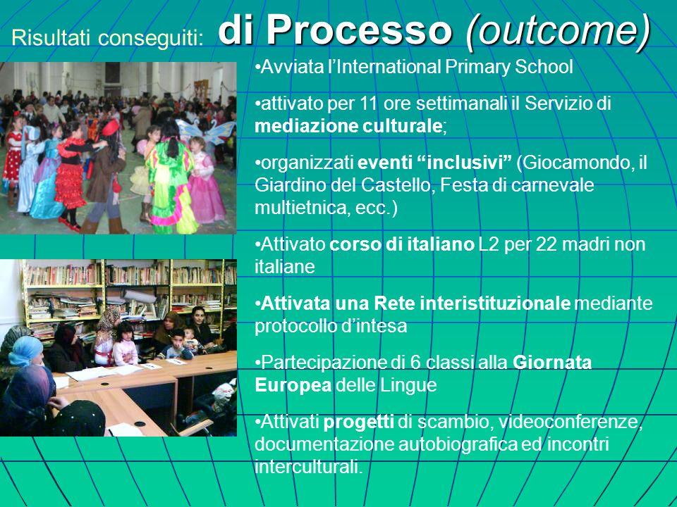 Avviata lInternational Primary School attivato per 11 ore settimanali il Servizio di mediazione culturale; organizzati eventi inclusivi (Giocamondo, i
