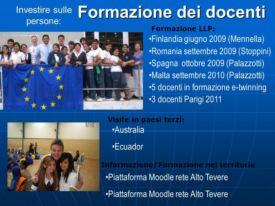 Finlandia giugno 2009 (Mennella) Romania settembre 2009 (Stoppini) Spagna ottobre 2009 (Palazzotti) Malta settembre 2010 (Palazzotti) 5 docenti in for