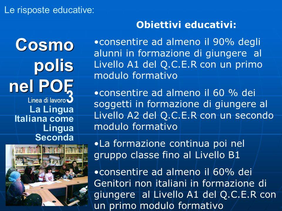Le risposte educative: Obiettivi educativi: consentire ad almeno il 90% degli alunni in formazione di giungere al Livello A1 del Q.C.E.R con un primo