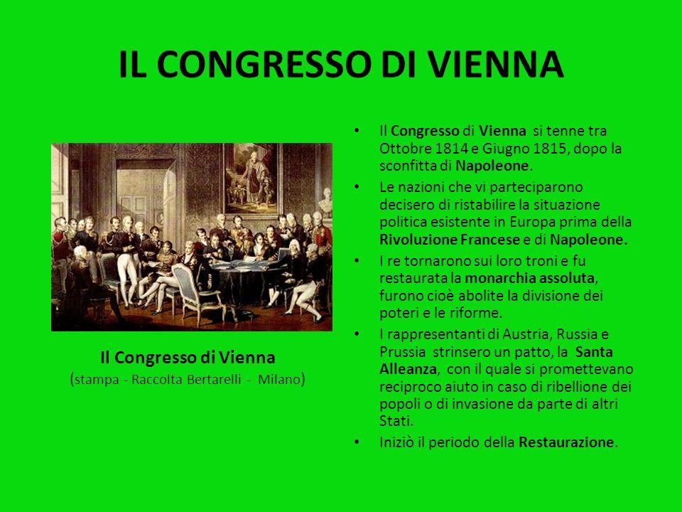 IL RISORGIMENTO Il Risorgimento è quel processo storico che portò alla formazione dello Stato Nazionale Unitario in Italia.