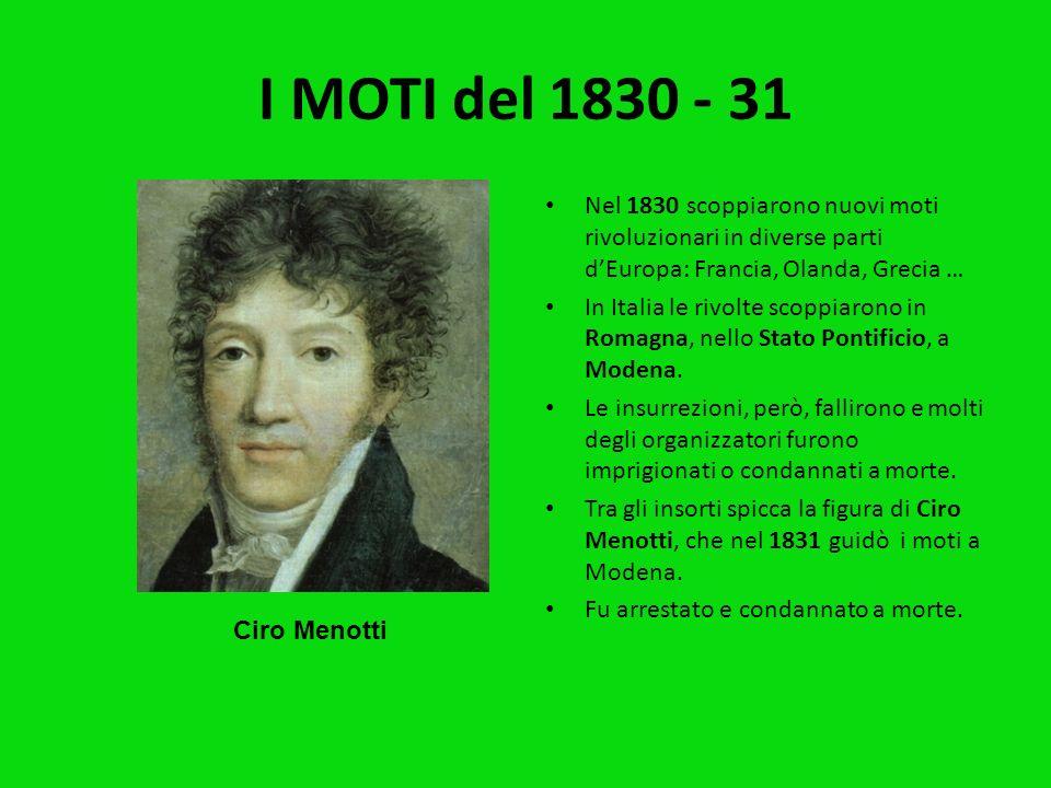 I MOTI del 1820 - 21 Nel 1820 scoppiarono i primi moti rivoluzionari in Spagna. Anche in Piemonte, nel Lombardo- Veneto e a Napoli i Carbonari organiz