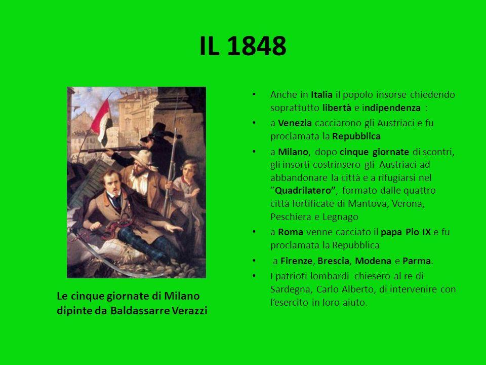 Nel 1848 fu un anno di grandi cambiamenti. In tutta Europa scoppiarono nuovi moti rivoluzionari : a Parigi dove il popolo si ribellò contro il re e fu