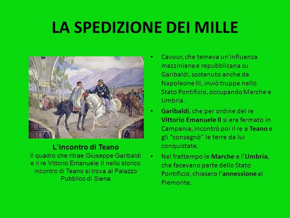 I garibaldini sbarcarono a Marsala, in Sicilia; in pochi giorni, aiutati anche dalla popolazione, entrarono a Palermo e liberarono tutta lisola, dopo