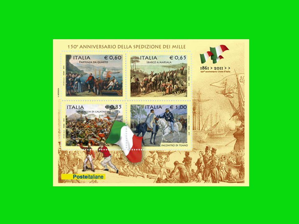 I FRANCOBOLLI Sempre il 5 maggio 2010 è uscita la serie di francobolli che apre i festeggiamenti per il 150° Anniversario dellUnità dItalia. Realizzat