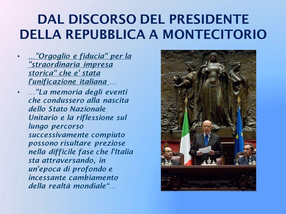 IL PRESIDENTE NAPOLITANO IN PARLAMENTO PER IL DISCORSO CELEBRATIVO DELL'UNITÀ D'ITALIA