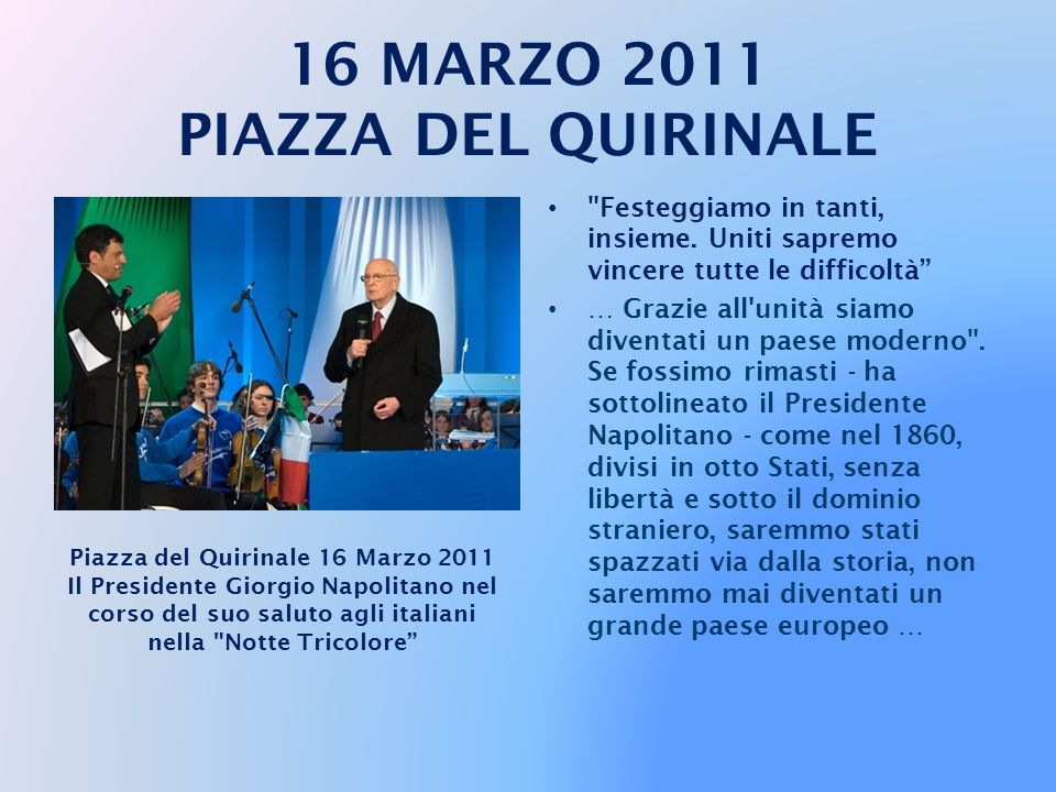 … Eppure l Italia unita, dopo aver scongiurato con sapienza politica rischi di separatismo e di amputazione del territorio nazionale, riuscì a rimettersi in piedi.