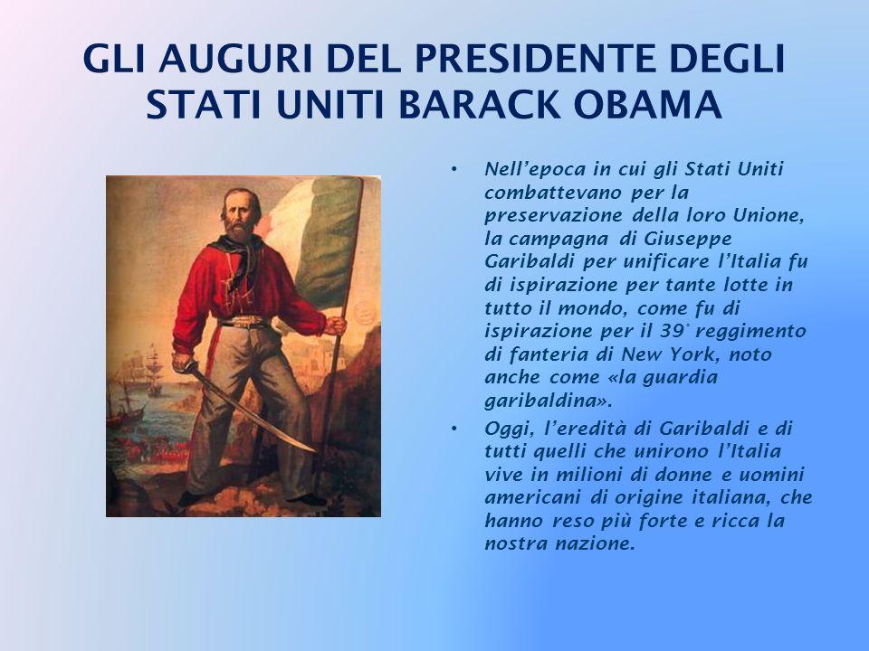 Il 17 marzo lItalia celebra il 150° anniversario della sua unità come Stato. In questo giorno ci uniamo a tutti gli italiani in tutto il mondo per ono