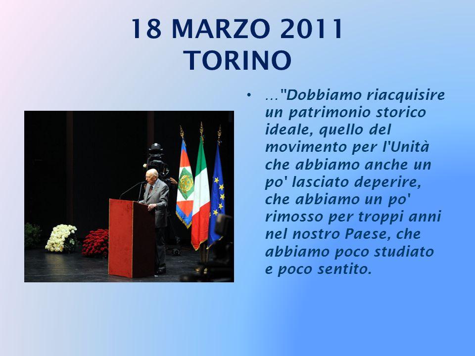 … Insieme con Torino è Roma che merita egualmente un riconoscimento perché anche Roma ha creduto molto a questo anniversario. Roma, la capitale agogna