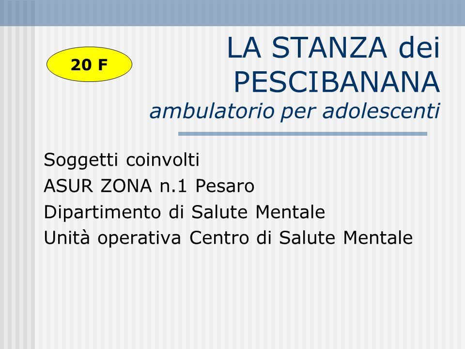 LA STANZA dei PESCIBANANA ambulatorio per adolescenti Soggetti coinvolti ASUR ZONA n.1 Pesaro Dipartimento di Salute Mentale Unità operativa Centro di