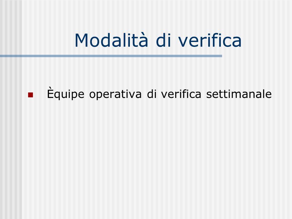 Modalità di verifica Èquipe operativa di verifica settimanale