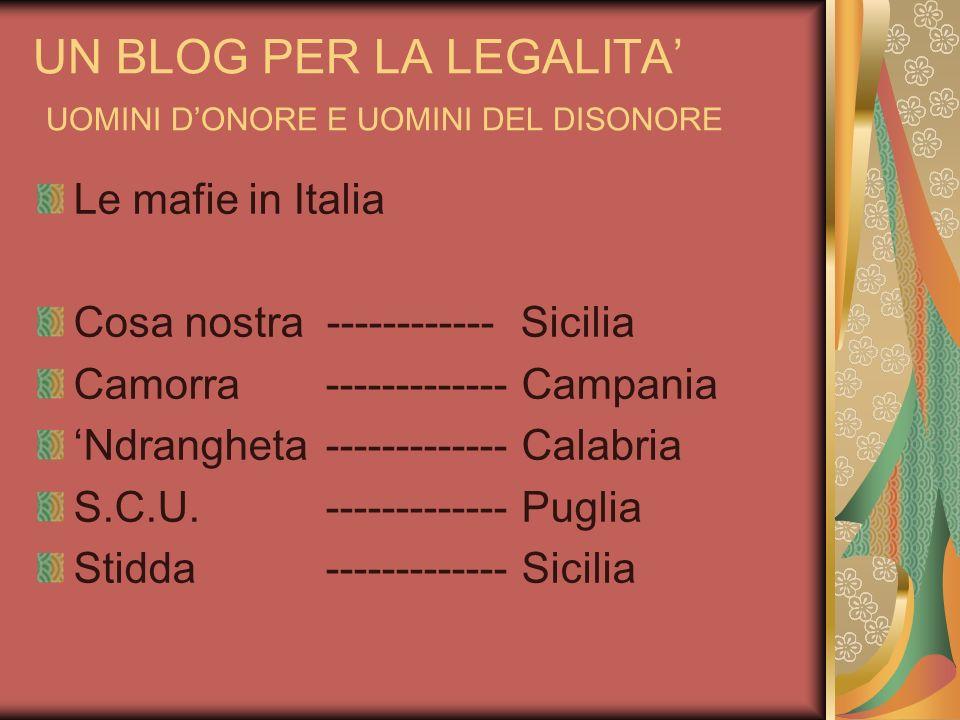 UN BLOG PER LA LEGALITA UOMINI DONORE E UOMINI DEL DISONORE Le mafie in Italia Cosa nostra ------------ Sicilia Camorra------------- Campania Ndranghe