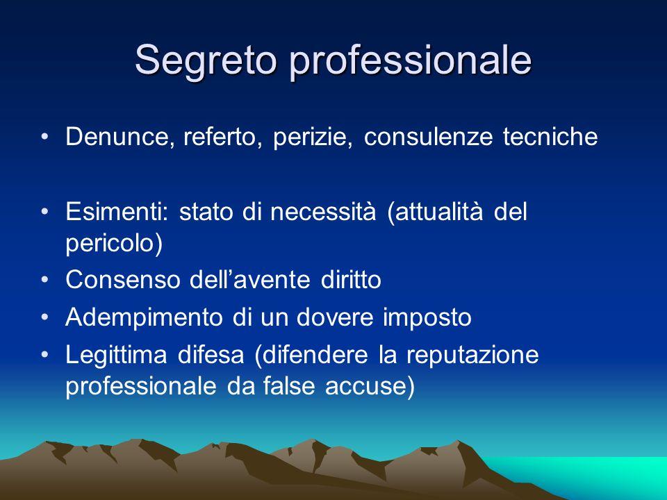 Segreto professionale Denunce, referto, perizie, consulenze tecniche Esimenti: stato di necessità (attualità del pericolo) Consenso dellavente diritto