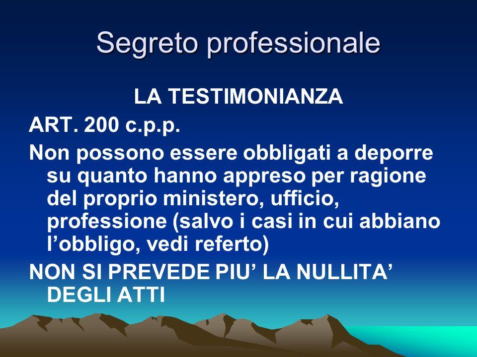 Segreto professionale LA TESTIMONIANZA ART. 200 c.p.p. Non possono essere obbligati a deporre su quanto hanno appreso per ragione del proprio minister