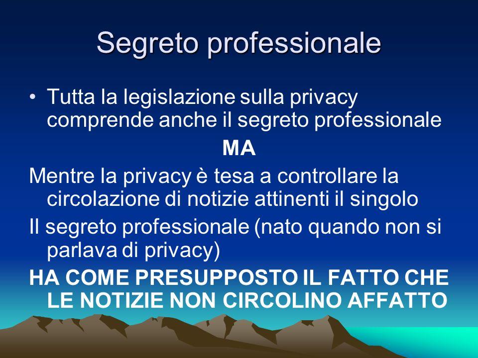 Segreto professionale Tutta la legislazione sulla privacy comprende anche il segreto professionale MA Mentre la privacy è tesa a controllare la circol
