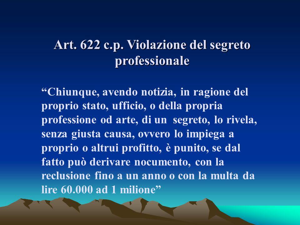 Art. 622 c.p. Violazione del segreto professionale Chiunque, avendo notizia, in ragione del proprio stato, ufficio, o della propria professione od art