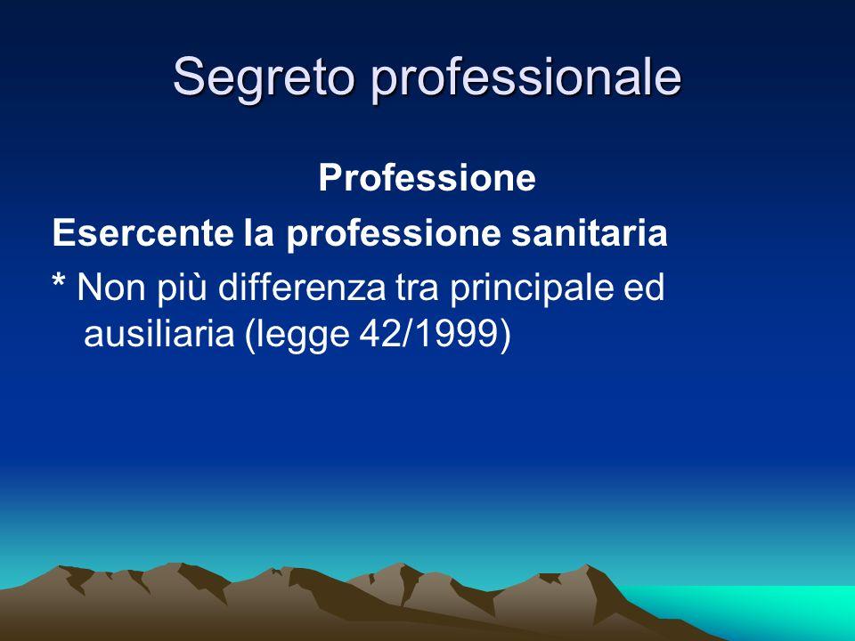 Segreto professionale Professione Esercente la professione sanitaria * Non più differenza tra principale ed ausiliaria (legge 42/1999)