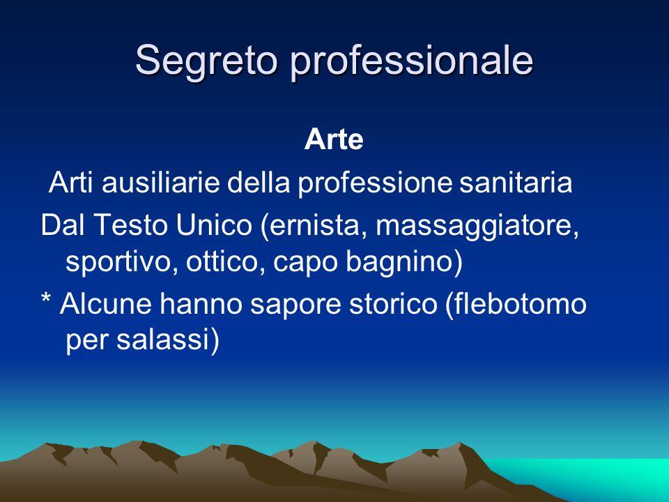 Segreto professionale Arte Arti ausiliarie della professione sanitaria Dal Testo Unico (ernista, massaggiatore, sportivo, ottico, capo bagnino) * Alcu