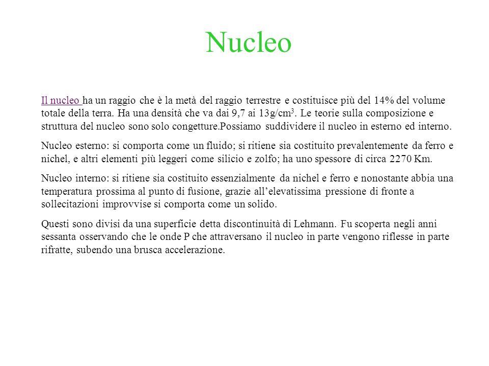 Nucleo Il nucleo Il nucleo ha un raggio che è la metà del raggio terrestre e costituisce più del 14% del volume totale della terra. Ha una densità che