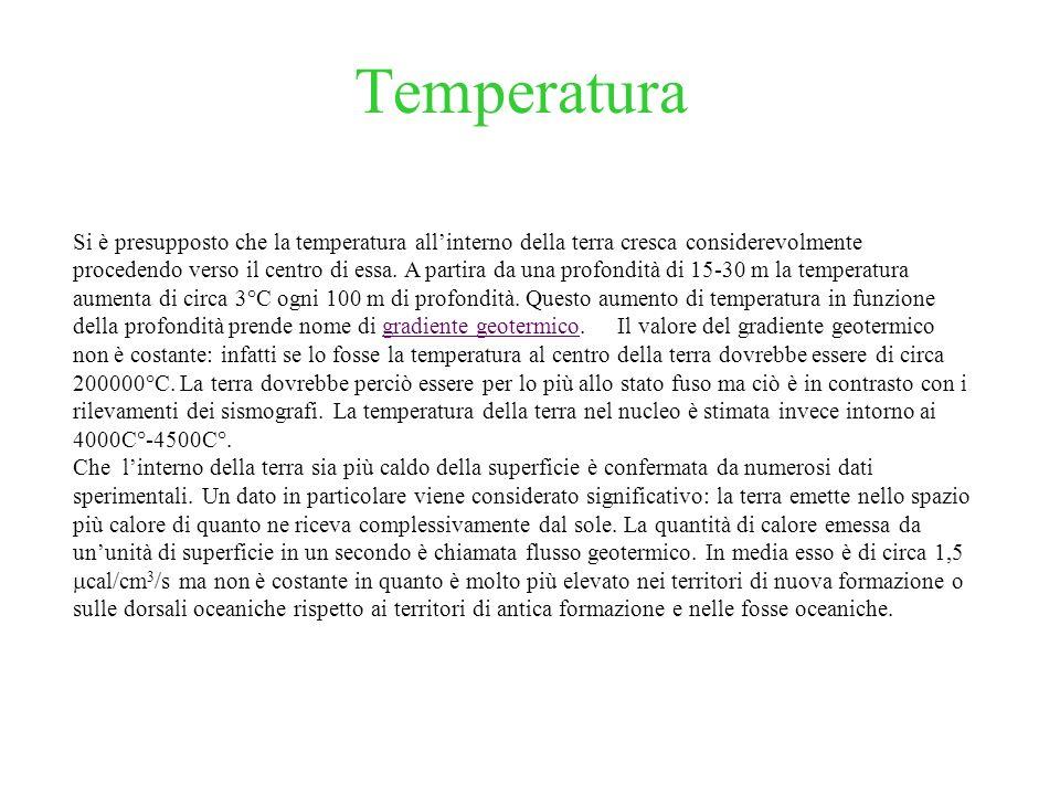 Temperatura Si è presupposto che la temperatura allinterno della terra cresca considerevolmente procedendo verso il centro di essa. A partira da una p