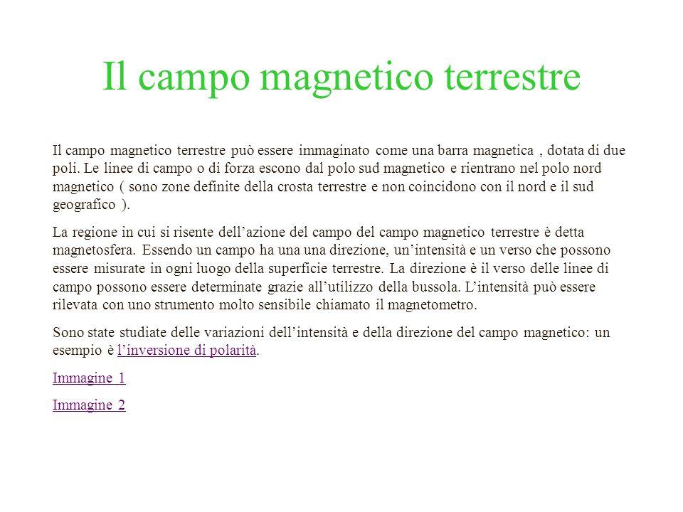 Il campo magnetico terrestre Il campo magnetico terrestre può essere immaginato come una barra magnetica, dotata di due poli. Le linee di campo o di f
