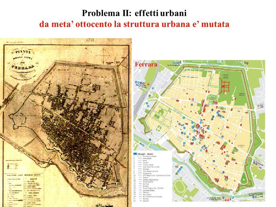 Problema II: effetti urbani da meta ottocento la struttura urbana e mutata