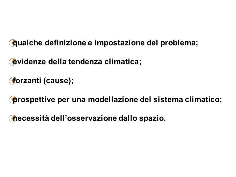 qualche definizione e impostazione del problema; evidenze della tendenza climatica; forzanti (cause); prospettive per una modellazione del sistema cli
