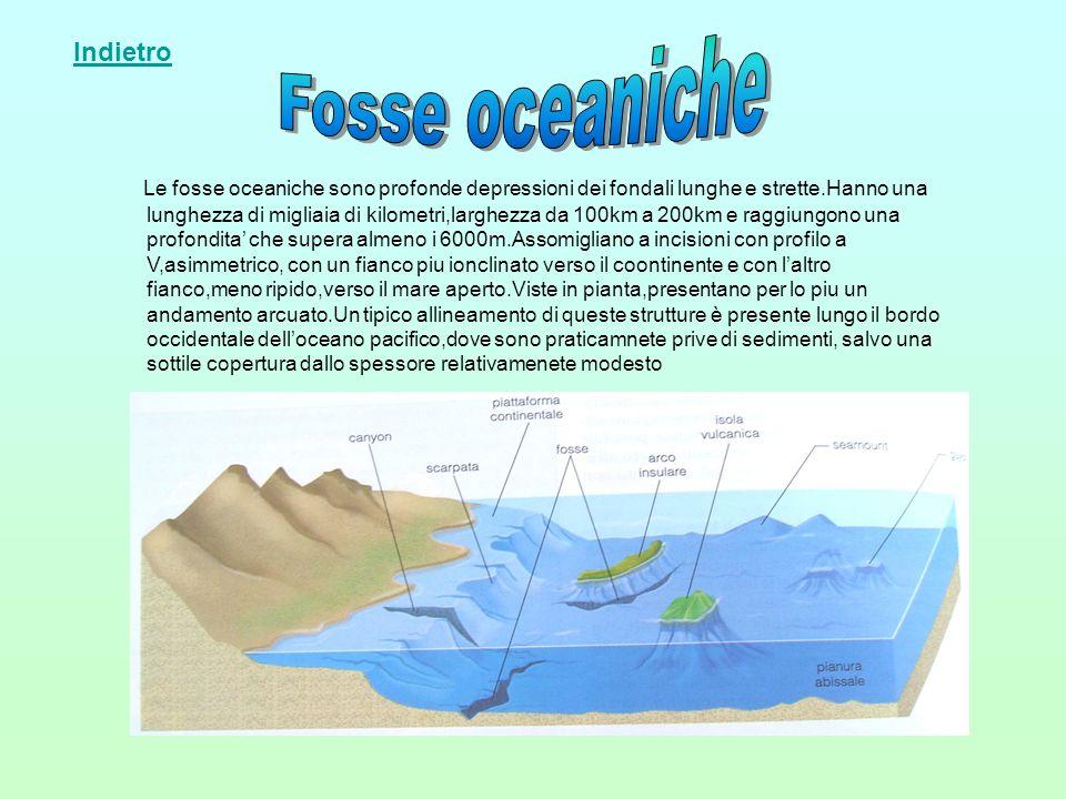 Le fosse oceaniche sono profonde depressioni dei fondali lunghe e strette.Hanno una lunghezza di migliaia di kilometri,larghezza da 100km a 200km e ra