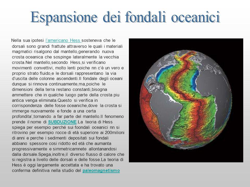 Nella sua ipotesi lamericano Hess sosteneva che le dorsali sono grandi frattute attraverso le quali i materiali magmatici risalgono dal mantello,gener