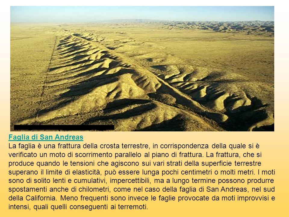 Faglia di San Andreas La faglia è una frattura della crosta terrestre, in corrispondenza della quale si è verificato un moto di scorrimento parallelo