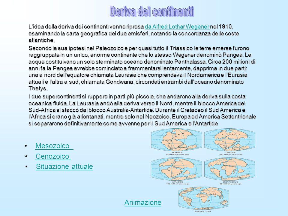 L'idea della deriva dei continenti venne ripresa da Alfred Lothar Wegener nel 1910, esaminando la carta geografica dei due emisferi, notando la concor
