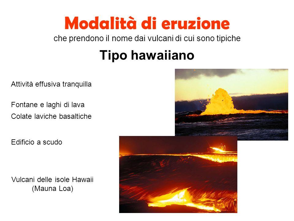 Modalità di eruzione che prendono il nome dai vulcani di cui sono tipiche Tipo hawaiiano Attività effusiva tranquilla Edificio a scudo Colate laviche