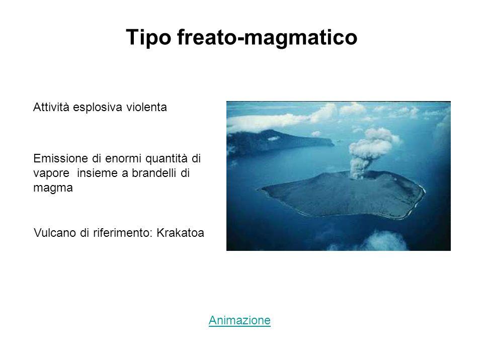 Tipo freato-magmatico Attività esplosiva violenta Emissione di enormi quantità di vapore insieme a brandelli di magma Vulcano di riferimento: Krakatoa