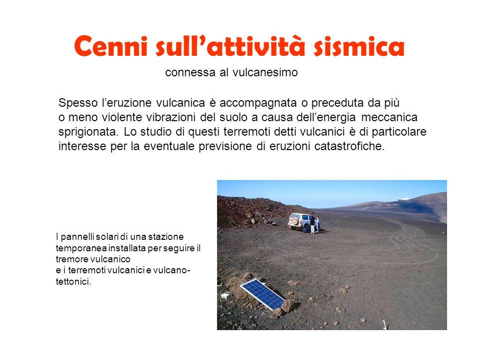 Cenni sullattività sismica connessa al vulcanesimo Spesso leruzione vulcanica è accompagnata o preceduta da più o meno violente vibrazioni del suolo a