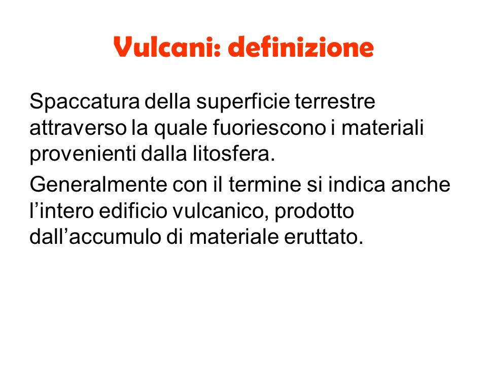 Vulcani: definizione Spaccatura della superficie terrestre attraverso la quale fuoriescono i materiali provenienti dalla litosfera. Generalmente con i