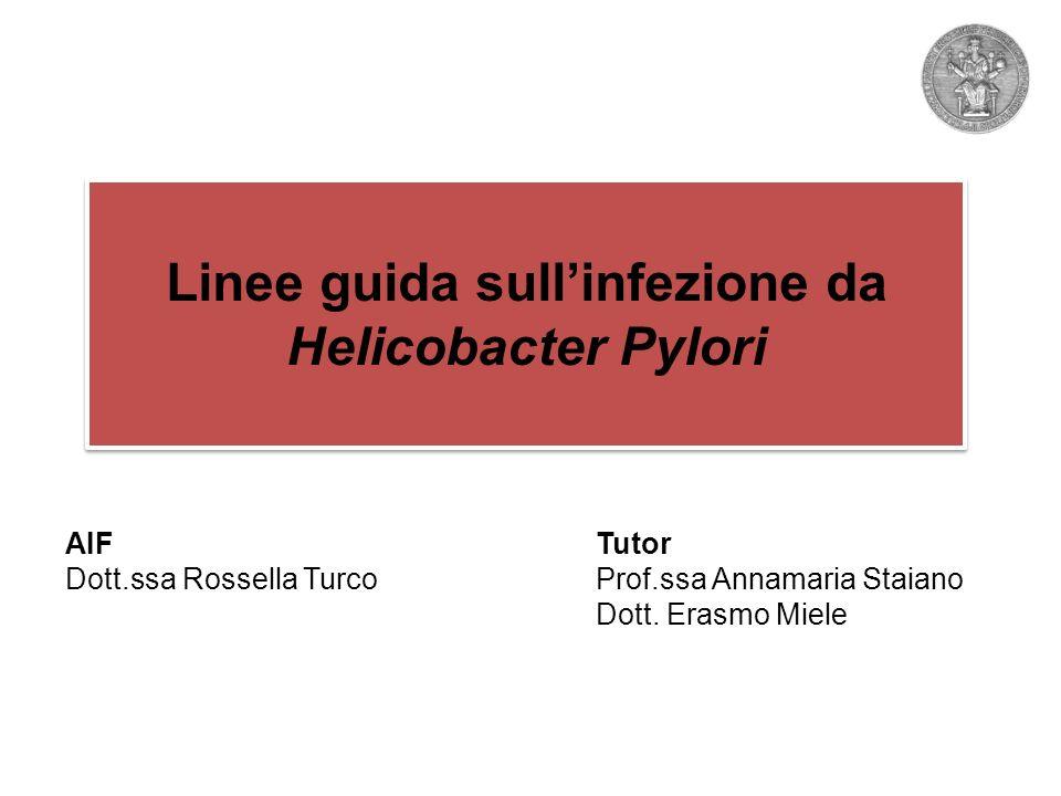 AIFTutor Dott.ssa Rossella TurcoProf.ssa Annamaria Staiano Dott. Erasmo Miele Linee guida sullinfezione da Helicobacter Pylori