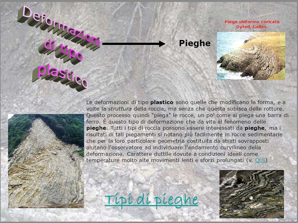 Pieghe Le deformazioni di tipo plastico sono quelle che modificano la forma, e a volte la struttura della roccia, ma senza che questa subisca delle ro