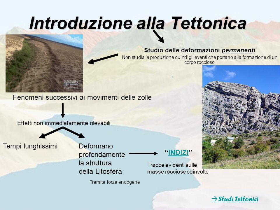 Introduzione alla Tettonica Studio delle deformazioni permanenti Non studia la produzione quindi gli eventi che portano alla formazione di un corpo ro