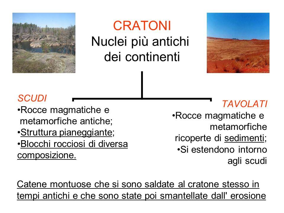 CRATONI Nuclei più antichi dei continenti SCUDI Rocce magmatiche e metamorfiche antiche; Struttura pianeggiante; Blocchi rocciosi di diversa composizi