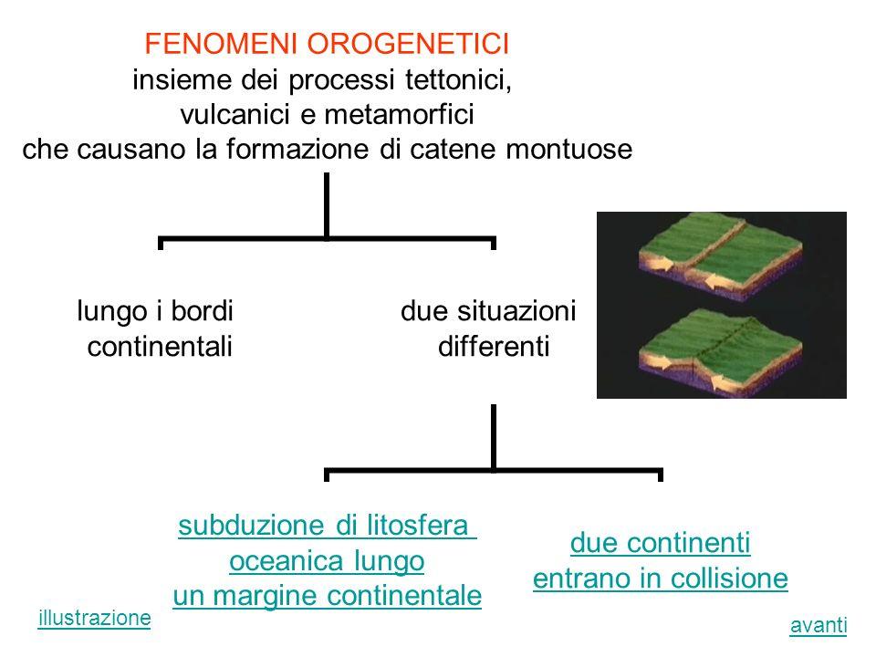 insieme dei processi tettonici, vulcanici e metamorfici che causano la formazione di catene montuose lungo i bordi continentali due situazioni differe