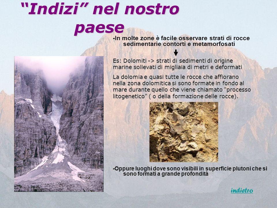 Indizi nel nostro paese -In molte zone è facile osservare strati di rocce sedimentarie contorti e metamorfosati Es: Dolomiti -> strati di sedimenti di