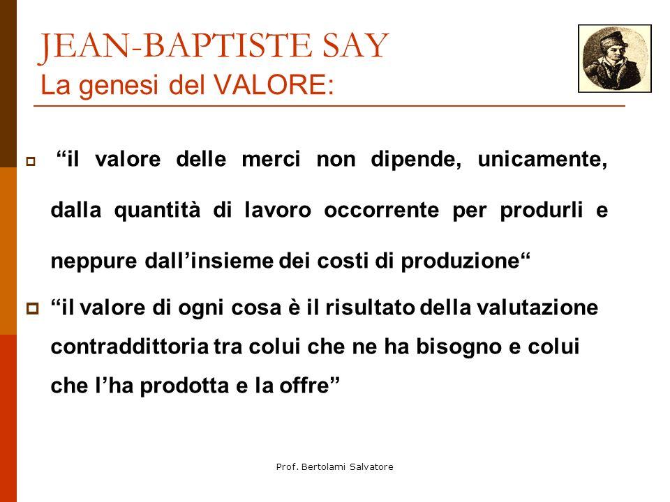 Prof. Bertolami Salvatore JEAN-BAPTISTE SAY La genesi del VALORE: il valore delle merci non dipende, unicamente, dalla quantità di lavoro occorrente p